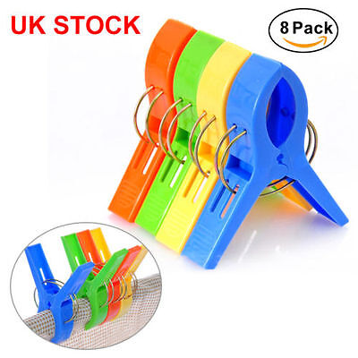Pack of 8 Large Bright Colour Plastic Beach Towel Pegs Clips to Sunbed UK SELLER