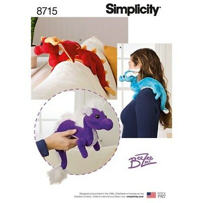 Simplicity Sewing Pattern 8715 Soft Stuffed Toy Dragons Wing Mane Variations