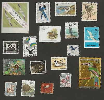 Birds On Stamps - 18 All Different