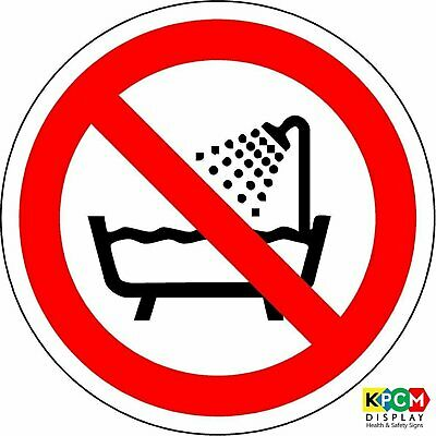 ISO Safety Label Sign - International Do not use this device in a bathtub
