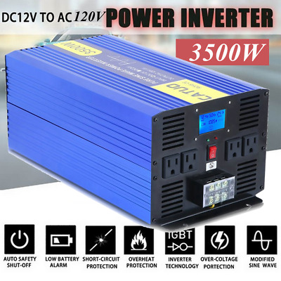 CATUO Power Inverter 3500W 7000W Pure Sine Wave 12V dc to ac 120V LCD Display US