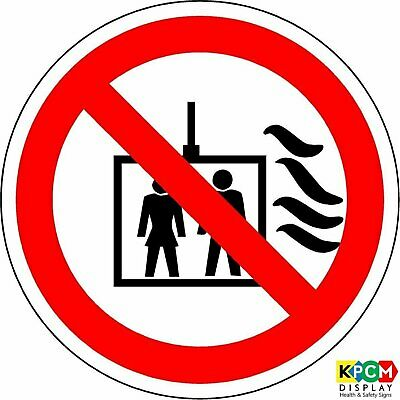 ISO Safety Label Sign - International Do not use lift in the event of fire