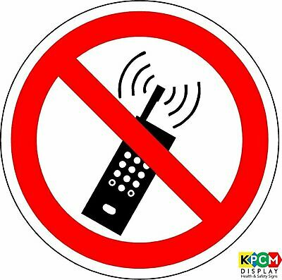 ISO Safety Label Sign - International No activated mobile phones Symbol