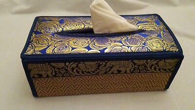 Thai Reed Blue With Gold Roses Tissue Box Cover