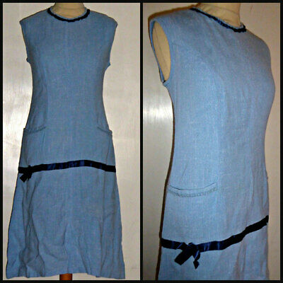 VINTAGE 60S LINEN RIBBON TRIM SHIFT DRESS UK 14 16 MOD GOGO 1920s flapper