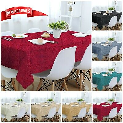 Luxury Rectangle & Round Jacquard Damask Table Cloth Cover Napkin & Table Runner
