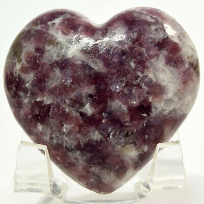 47mm Purple Lepidolite Heart Natural Litha Mica Crystal Sparkling Mineral Brazil