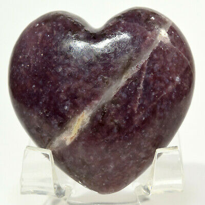 47mm Deep Purple Lepidolite Heart Natural Litha Mica Crystal Gemstone - Brazil