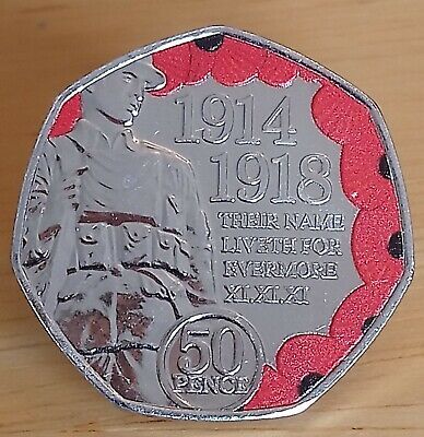 2018 ISLE OF MAN Coloured Armistice Day WW1 Remembrance Poppy 50p pence