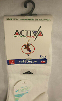 Activa Sports Plus Socks Size 6-12 UK. Treated with Purista. 2 Pair Pack.