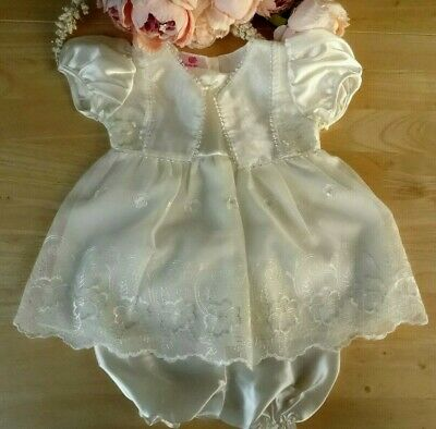 2pcs Baby Girl Cream/Ivory Satin Lace Embroidered Dress Bloomers Hat Set 6-12m
