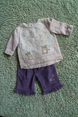 Baby clothes GIRL newborn 0-1m outfit cute fleecy snow, top,purple cord trousers
