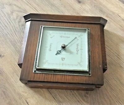 Vintage Wooden Art Deco Style Smiths Barometer- Wall Hanging- Made In England