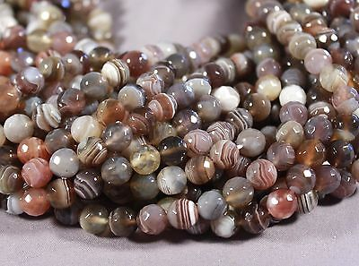 """Natural FACETED 10MM BROWN GRAY AGATE ROUND BEADS 15 """"AAA"""