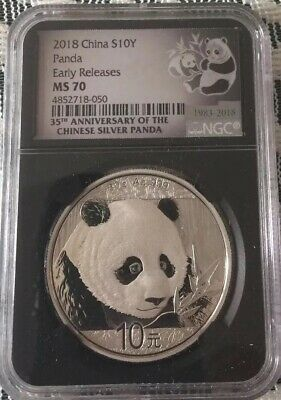 2018 NGC MS70 China S10Y Panda Early Releases 10 Yuan .999 Silver Coin 30 Gram
