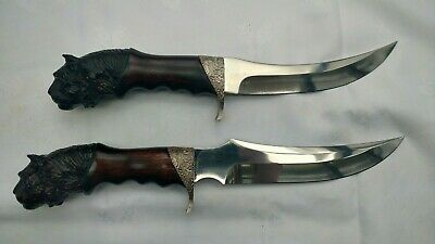 Pair of Italy Jaguar Hand Carved Handle Handmade Knife