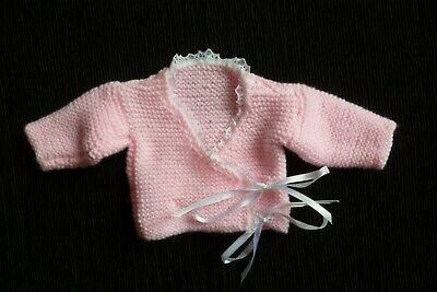 Baby clothes GIRL premature/tiny<5lb/2.3kg NEW! soft pink, lace,ribbons cardigan