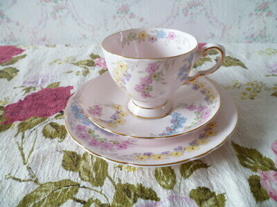 Lovely Vintage Tuscan English China Trio Tea Cup Saucer Pastel Pink Floral 6225