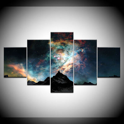 5pcs Starry Sky Mountain Space Planet Painting Print Canvas Home Wall Art Decor