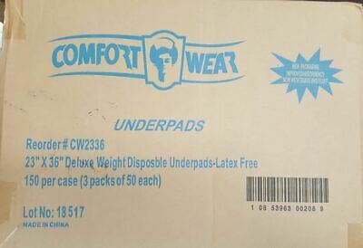 """Comfort Wear Disposable Absorbent Underpads 23"""" x 36""""  150 Count  NEW Latxe Free"""