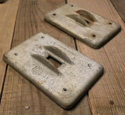 LOT OF 2 Crouse Hinds Cast Iron Industrial Switch Covers Vtg RARE FIND!