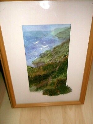 Original Sarah Wootton Thread Painting Of The Coast Path To Seacombe