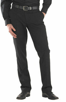 CLICK Mens Black Trousers 100% Polyester Stretch Side Pockets Zip Fly Button