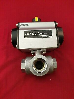 "Pneumatic Actuated Ball Valve 1"" BSP Brass 3 Way L Port"