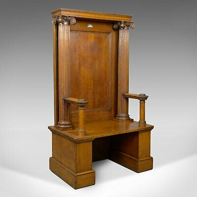 Large Antique Oak Throne Chair, Edwardian, Bench, Seat, Classical, Ionic, c.1910