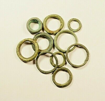 Exchange Before Coins - Rare Lot Of 10 Celtic Bronze Proto-Money Rings -04
