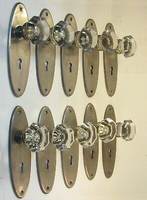 1 Pair of Restored Antique 1930 Glass Door Knobs with Chrome Plated Brass Finish