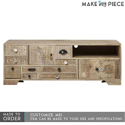MADE TO ORDER Hand Carved Solid wood Entertainment Unit TV Plasma Stand Natural