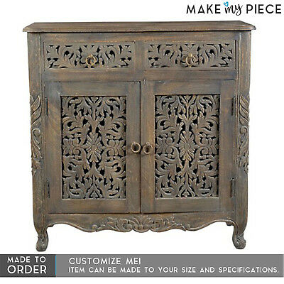 MADE TO ORDER Jali Hand carved solid hard wood sideboard buffet hutch
