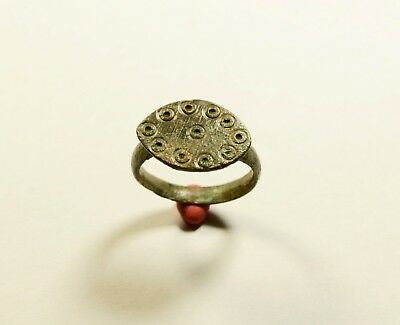 Genuine Medieval - Saxon Era Bronze Finger Ring - Evil Eye Motif On Bezel