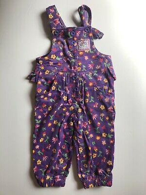 Okie Dokie Vintage 80s Floral Overalls Purple 18 Months 2T Toddler Girl Ruffle
