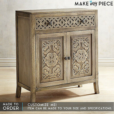 MADE TO ORDER Hand Carved Solid wood Small Cabinet Sideboard Buffet Natural