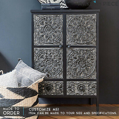 MADE TO ORDER Floral Carved Solid wood Metal Small Cabinet Buffet Cupboard Black