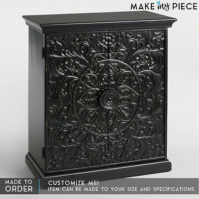 MADE TO ORDER Paris Floral Hand Carved Solid wood Cabinet Cupboard Buffet Black