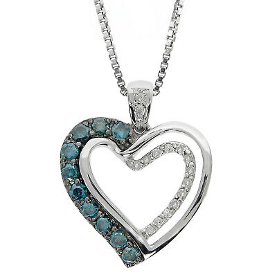 3/8 cttw Blue and White Diamond Heart 925 Sterling Silver Pendant