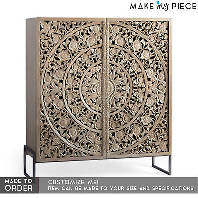 MADE TO ORDER DYNASTY Carved Solid wood Metal Cabinet Almirah Cupboard Brown