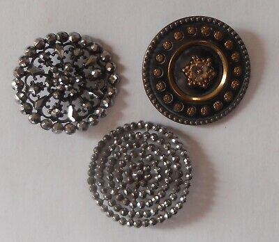 3 Boutons Anciens 1900 dont Strass Antique French botton bouton