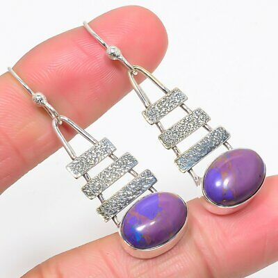 Purple Turquoise Gemstone Handmade Ethnic 925 Sterling Silver Earring 2.0""