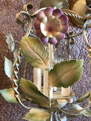 Vintage Italian Tole Painted 4 Lamp Chandelier Yellow & Purple Flowers Gold Trim
