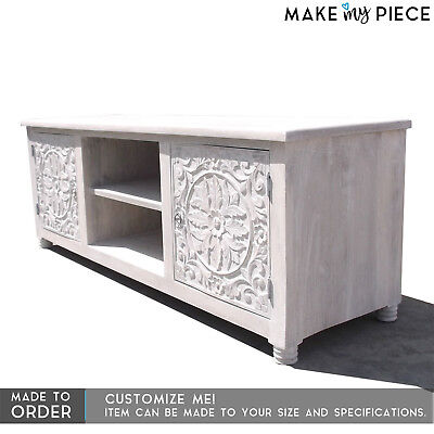 MADE TO ORDER Paris Carved Solid wood Entertainment Unit TV Plasma Stand White