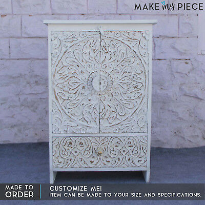 MADE2 ORDER Paris Hand Carved Solid wood Small Cabinet Cupboards White 90cm