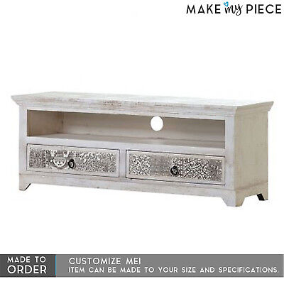 MADE TO ORDER Hand Carved Solid wood Entertainment TV Unit Plasma stand White