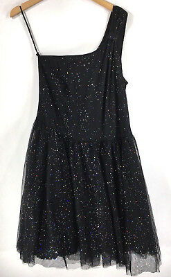 9b649a8435c Torrid Vintage Plus size 18 Black Party Dress One Shoulder Glitter Dance  Prom