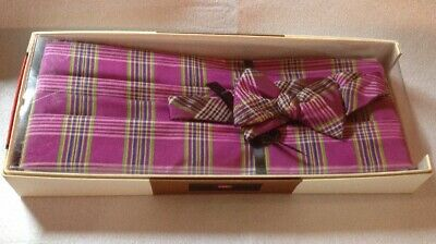 Carrot & Gibbs Pure Silk Bow Tie And Cummerbund Set - Magenta - Retail $135.00