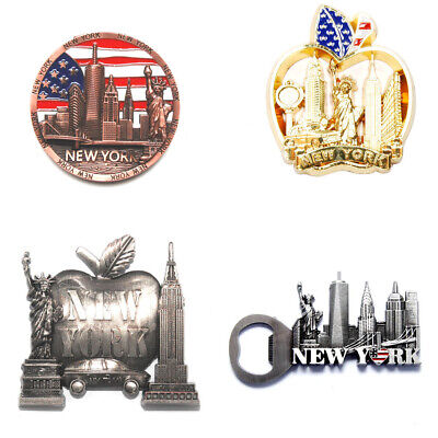 (4 PacK) New York Souvenir Metal Fridge NY Magnets Set NYC's Most Famous