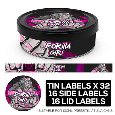 GORILLA GIRL Cali pressitin tuna Tin Labels Stickers RX Medical HIGH QUALITY